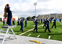 NWA Democrat-Gazette/FLIP PUTTHOFF <br />MUSIC MARCH<br />Madison Sparks directs the Shiloh Christian high school marching band of Springdale on Saturday Oct. 6 2018 during the Bentonville Marching Invitational at Tiger Stadium in Bentonville. Seventeen marching bands from high schools in Arkansas, Missouri and Oklahoma competed. Each band performed 15 minutes for judges in the competition.