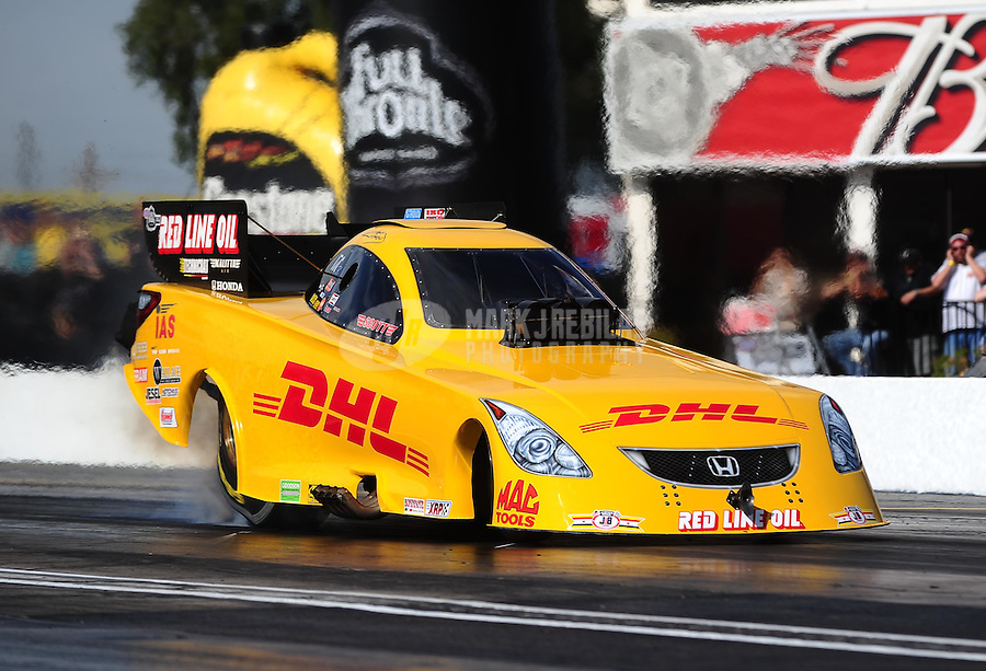 Feb. 19, 2010; Chandler, AZ, USA; NHRA funny car driver Jeff Arend during qualifying for the Arizona Nationals at Firebird International Raceway. Mandatory Credit: Mark J. Rebilas-