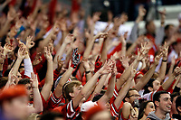 Ohio State Buckeyes student section cheers against Wisconsin Badgers during the 1st half of their game during the Big Ten Championship game at the Lucas Oil Stadium in Indianapolis, Ind on December 2, 2017.  [Kyle Robertson/Dispatch]