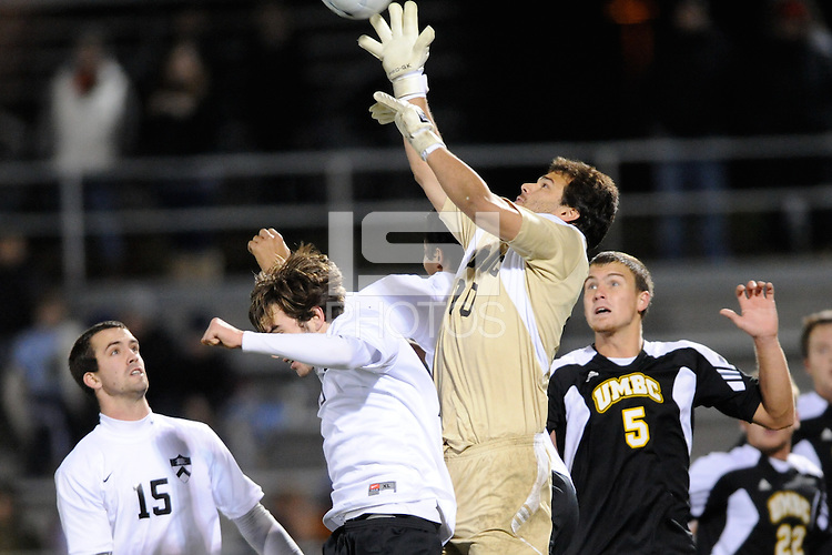 UMBC Retrievers goalkeeper Dan Louisignau (00) grabs a ball in traffic. UMBC Retrievers defeated Princeton Tigers 2-1 during the first round of the 2010 NCAA Division 1 Men's Soccer Championship at Roberts Stadium in Princeton, NJ, on November 18, 2010.