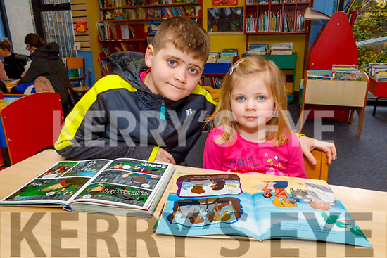 Evan and Caragh McCarthy from Tralee reading books at the National Library Open Day at the Tralee Library on Saturday.