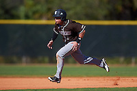 St. Bonaventure Bonnies center fielder Taishi Terashima (1) running the bases during a game against the Dartmouth Big Green on February 25, 2017 at North Charlotte Regional Park in Port Charlotte, Florida.  St. Bonaventure defeated Dartmouth 8-7.  (Mike Janes/Four Seam Images)