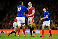 Romain Taofifenua of France pushes Alun Wyn Jones of Wales during the Guinness Six Nations Championship Round 3 match between Wales and France at the Principality Stadium in Cardiff, Wales, UK. Saturday 22 February 2020