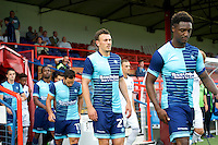 Will De Havilland  of Wycombe Wanderers  comes on for the start of  the Friendly match between Aldershot Town and Wycombe Wanderers at the EBB Stadium, Aldershot, England on 26 July 2016. Photo by Alan  Stanford.