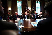 United States President Donald J. Trump speaks during a Cabinet Meeting in the Cabinet Room of the White House, on July 16, 2019 in Washington, DC.<br /> Credit: Oliver Contreras / Pool via CNP