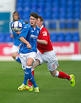 St Johnstone v Ross County....SPFL Development League...19.08.14<br /> Kyle Lander holds off James Beeston<br /> Picture by Graeme Hart.<br /> Copyright Perthshire Picture Agency<br /> Tel: 01738 623350  Mobile: 07990 594431