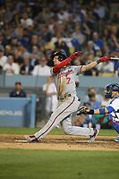 06/06/17 Los Angeles, CA: Washington Nationals shortstop Trea Turner #7 during an MLB game between the Los Angeles Dodgers and the Washington Nationals played at Dodger Stadium.