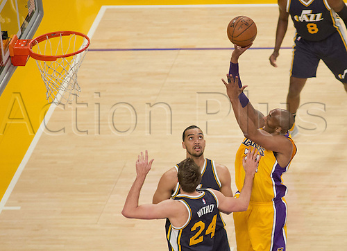 13.04.2016. Los Angeles, California, USA. Kobe Bryant #24 of the Los Angeles Lakers during their game with the Utah Jazz at Staples Center. Today is Bryant's last home game