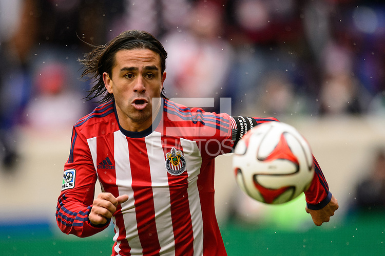 Mauro Rosales (7) of Chivas USA. The New York Red Bulls and Chivas USA played to a 1-1 tie during a Major League Soccer (MLS) match at Red Bull Arena in Harrison, NJ, on March 30, 2014.