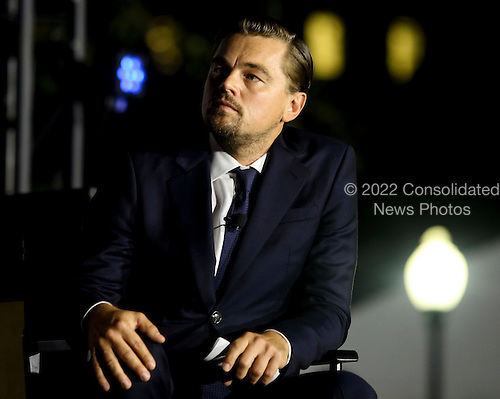 Leonardo DiCaprio participates  participates at a panel discussion on climate change with United States President Barack Obama (unseen) and Dr. Katharine Hayhoe (unseen),  as part of the White House South by South Lawn (SXSL) event about the importance of protecting the one planet we&rsquo;ve got for future generations, on the South Lawn of the White House, Washington DC, October 3, 2016. <br /> Credit: Aude Guerrucci / Pool via CNP
