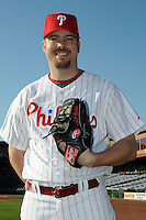 Feb 20, 2009; Clearwater, FL, USA; The Philadelphia Phillies pitcher Adam Eaton (21) during photoday at Bright House Field. Mandatory Credit: Tomasso De Rosa/ Four Seam Images
