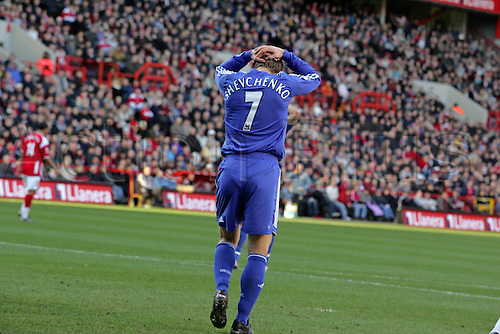 3 February 2007: Chelsea striker Andriy Shevchenko holds his head in his hands after another miss during the Premiership game between Chelsea and Charlton Athletic, played at The Valley. Chelsea won the match 1-0. Photo: Actionplus....070203 football soccer player loser losing disappointment