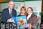 INTERESTING: Peter Whyte from Gurteen Agriculture College, Tipperary, explaines to students Kelly Harrington and Helena Brennan from Presentation Secondary School, Tralee what exactly is involved in the Agriculture and Horticulture courses at the Careers Exhibition in the Brandon Hotel on Thursday..