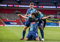 Wycombe Wanderers' Joe Jacobson celebrates scoring his side's second goal from the penalty spot <br /> <br /> Photographer Andrew Kearns/CameraSport<br /> <br /> Sky Bet League One Play Off Final - Oxford United v Wycombe Wanderers - Monday July 13th 2020 - Wembley Stadium - London<br /> <br /> World Copyright © 2020 CameraSport. All rights reserved. 43 Linden Ave. Countesthorpe. Leicester. England. LE8 5PG - Tel: +44 (0) 116 277 4147 - admin@camerasport.com - www.camerasport.com