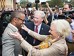 Willie Taggart arrives and greets Florida State University president John Thrasher, center, and his wife Jean before being announced as FSU's new NCAA college football coach in Tallahassee, Fla., Wed, Dec. 6, 2017. (AP Photo/Mark Wallheiser)
