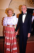 Actor Jimmy Stewart and his wife, Gloria, arrive for a State Dinner in honor of President Kenan Evren of Turkey at the White House of the White House in Washington, DC on June 27, 1988.<br /> Credit: Arnie Sachs / CNP