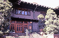 Greene & Greene:  Gamble House, Pasadena CA, 1908. Front entrance.<br /> Now a musuem. Arts & Crafts style with beautiful woodworking and custom furniture.