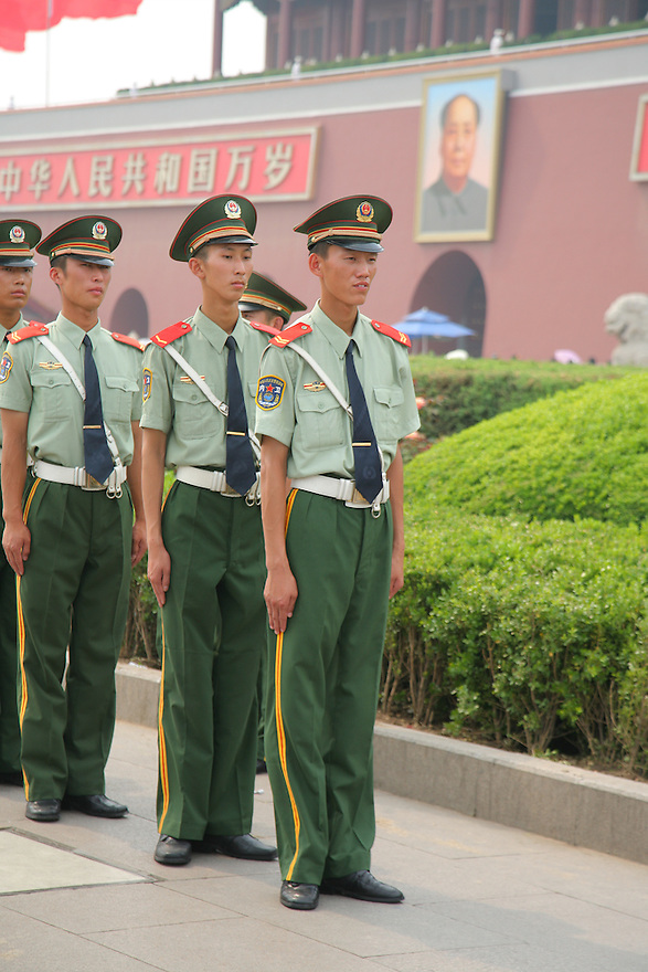 Soldiers on guard Tiananmen Square Beijing China