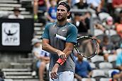 11th January 2018, Sydney Olympic Park Tennis Centre, Sydney, Australia; Sydney International Tennis,quarter final; Adrian Mannarino (ITA) adjusts his sweatband in his match against Fabio Fognini (ITA)