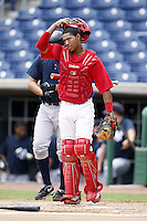 July 10, 2009:  Catcher Marlon Mitchell (10) of the GCL Phillies during a game at Bright House Networks Field in Clearwater, FL.  The GCL Phillies are the Gulf Coast Rookie League affiliate of the Philadelphia Phillies.  Photo By Mike Janes/Four Seam Images
