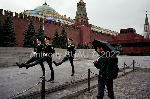 Moscow, Russia<br /> Soviet Union<br /> August 30, 1991<br /> <br /> The guards at Lenin's Mausoleum in Red Square goose-stepping off during their shift change. Thie spectacle stopped on October 7, 1993.<br /> <br /> In December 1991, food shortages in central Russia had prompted food rationing in the Moscow area for the first time since World War II. Amid steady collapse, Soviet President Gorbachev and his government continued to oppose rapid market reforms like Yavlinsky's &quot;500 Days&quot; program. To break Gorbachev's opposition, Yeltsin decided to disband the USSR in accordance with the Treaty of the Union of 1922 and thereby remove Gorbachev and the Soviet government from power. The step was also enthusiastically supported by the governments of Ukraine and Belarus, which were parties of the Treaty of 1922 along with Russia.<br /> <br /> On December 21, 1991, representatives of all member republics except Georgia signed the Alma-Ata Protocol, in which they confirmed the dissolution of the Union. That same day, all former-Soviet republics agreed to join the CIS, with the exception of the three Baltic States.