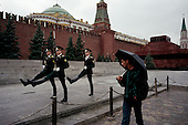 "Moscow, Russia<br /> Soviet Union<br /> August 30, 1991<br /> <br /> The guards at Lenin's Mausoleum in Red Square goose-stepping off during their shift change. Thie spectacle stopped on October 7, 1993.<br /> <br /> In December 1991, food shortages in central Russia had prompted food rationing in the Moscow area for the first time since World War II. Amid steady collapse, Soviet President Gorbachev and his government continued to oppose rapid market reforms like Yavlinsky's ""500 Days"" program. To break Gorbachev's opposition, Yeltsin decided to disband the USSR in accordance with the Treaty of the Union of 1922 and thereby remove Gorbachev and the Soviet government from power. The step was also enthusiastically supported by the governments of Ukraine and Belarus, which were parties of the Treaty of 1922 along with Russia.<br /> <br /> On December 21, 1991, representatives of all member republics except Georgia signed the Alma-Ata Protocol, in which they confirmed the dissolution of the Union. That same day, all former-Soviet republics agreed to join the CIS, with the exception of the three Baltic States."