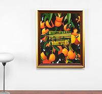 "Preston Oranges and Landscape, Framed Dimensions: 32.5"" x 26.25"" x 1"""