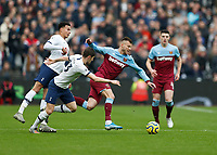 23rd November 2019; London Stadium, London, England; English Premier League Football, West Ham United versus Tottenham Hotspur; Ben Davies of Tottenham Hotspur fouling Andriy Yarmolenko of West Ham United  - Strictly Editorial Use Only. No use with unauthorized audio, video, data, fixture lists, club/league logos or 'live' services. Online in-match use limited to 120 images, no video emulation. No use in betting, games or single club/league/player publications