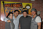 Owners Jerry and Dino pose with General Hospital - Kelly Monaco & Tyler Christopher as they appear at Uncle Vinnie's Comedy Club on February 19, 2011 in Point Pleasant Beach, New Jersey for fun, questions, stories, autographs and photos. (Photo by Sue Coflin/Max Photos)