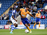 Colchester United's  Brandon Hanlan battles with Mansfield Town's Rhys Bennett<br /> <br /> Photographer Hannah Fountain/CameraSport<br /> <br /> The EFL Sky Bet League Two - Colchester United v Mansfield Town - Saturday 7th October 2017 - Colchester Community Stadium - Colchester<br /> <br /> World Copyright &copy; 2017 CameraSport. All rights reserved. 43 Linden Ave. Countesthorpe. Leicester. England. LE8 5PG - Tel: +44 (0) 116 277 4147 - admin@camerasport.com - www.camerasport.com