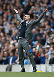 Josep Guardiola manager of Manchester City reacts during the English Premier League match at the Etihad Stadium, Manchester. Picture date: May 13th 2017. Pic credit should read: Simon Bellis/Sportimage