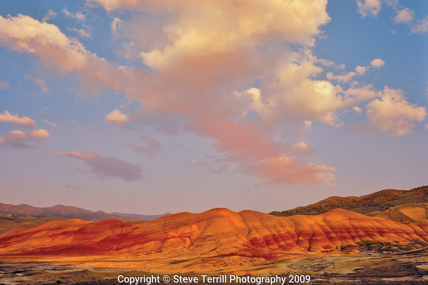 Late evening light on the Painted Hills in John Day Fossil Beds Natiional Monument Oregon