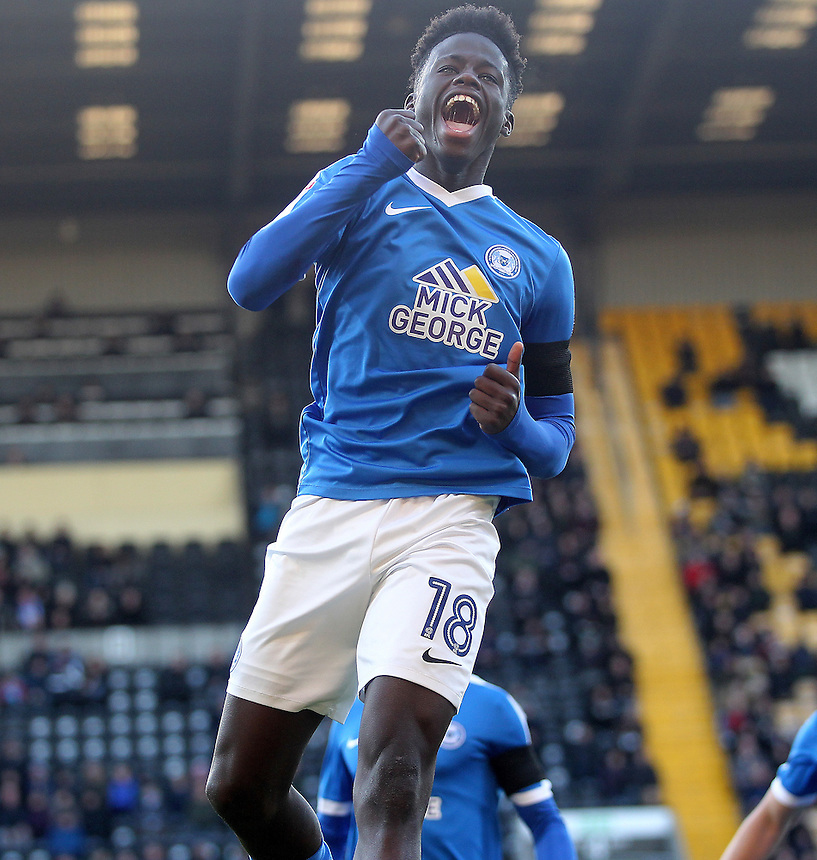 Peterborough United's Leo Da-Silva-Lopescelebrates scoring his sides first goal <br /> <br /> Photographer Mick Walker/CameraSport<br /> <br /> The Emirates FA Cup Second Round - Notts County v Peterborough United - Sunday 4th December 2016 - Meadow Lane - Nottingham<br />  <br /> World Copyright &copy; 2016 CameraSport. All rights reserved. 43 Linden Ave. Countesthorpe. Leicester. England. LE8 5PG - Tel: +44 (0) 116 277 4147 - admin@camerasport.com - www.camerasport.com