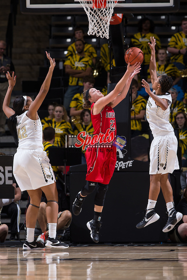 Dakota Dukes (23) of the Davidson Wildcats drives to the basket between Kandice Ball (42) and Ariel Stephenson (25) of the Wake Forest Demon Deacons during second half action at the LJVM Coliseum on November 17, 2015 in Winston-Salem, North Carolina.  The Demon Deacons defeated the Wildcats 77-58.  (Brian Westerholt/Sports On Film)