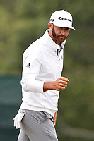 Dustin Johnson (USA) reacts to making a putt on the 2nd hole during the second round of the 118th U.S. Open Championship at Shinnecock Hills Golf Club in Southampton, NY, USA. 15th June 2018.<br /> Picture: Golffile | Brian Spurlock<br /> <br /> <br /> All photo usage must carry mandatory copyright credit (&copy; Golffile | Brian Spurlock)