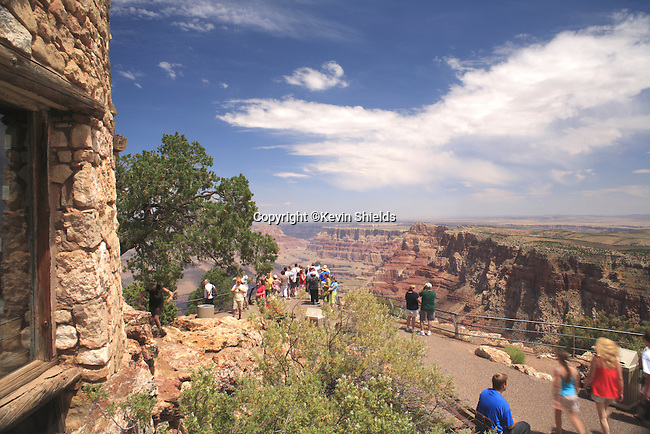 View of the South Rim of the Grand Canyon at the Watchtower, Grand Canyon National Park, Arizona, USA