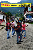 """PALERMO COLOMBIA - APRIL 29: Indigenous young men pose as they attend the """"frutos de mi Tierra"""" forum on April 29, 2017 in Palermo, Antioquia. The Anti mining forum it's taking place in the town as environmental concerns arise in reaction of the threat from South African miner AngloGold Ashanti plans to develop a open-pit gold mines in the central Colombian region.  Photo by VIEWpress/Guillermo Betancur"""