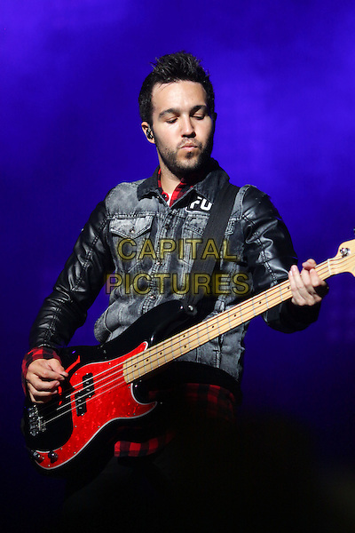 Pete Wentz of Fall Out Boy <br /> Fall Out Boy in concert, Moscow, Russia.<br /> 31st July 2013.<br /> music live on stage gig half length playing guitar bass red side <br /> CAP/PER/AS<br /> &copy;AS/PersonaStars/CapitalPictures