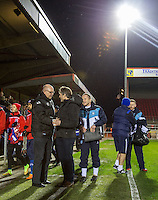 John Still manager of Dagenham & Redbridge welcomes Wycombe Wanderers Manager Gareth Ainsworth during the Sky Bet League 2 match between Dagenham and Redbridge and Wycombe Wanderers at the London Borough of Barking and Dagenham Stadium, London, England on 9 February 2016. Photo by Andy Rowland.