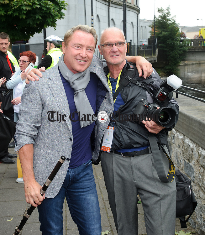 Martin Connolly with Michael Flatley at the official opening of the All-Ireland Fleadh 2017 in Ennis. Photograph by John Kelly.
