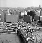 Pittsburgh PA:  Pittsburgh's Gateway Center with the Fort Pitt Bridge in the foreground - 1962