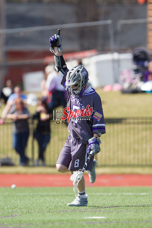 Matt Thistle (8) of the High Point Panthers celebrates after scoring a goal against the UMBC Retrievers at Vert Track, Soccer & Lacrosse Stadium on March 15, 2014 in High Point, North Carolina.  The Panthers defeated the Retrievers 17-15.   (Brian Westerholt/Sports On Film)