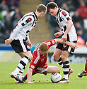 ABERDEEN'S FRASER FYVIE IS SANDWICHED BETWEEN ST MIRREN'S DAVID BARRON AND  PAUL MCGOWAN