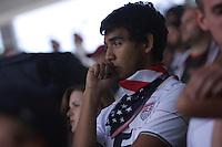 United States Men's National team fan watches the action in the first half.  The United States Men's National Team played Mexico in a CONCACAF World Cup Qualifier match at Azteca Stadium in, Mexico City, Mexico on Wednesday, August 12, 2009.