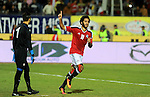 Egypt players and Tunisia players compete during an international friendly football match at the Cairo International Stadium in the Egyptian capital on January 8, 2017. Photo by Stringer