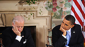 United States President Barack Obama and U.S. President Joseph Biden listen to a speaker during the bipartisan meeting to discuss health reform legislation at the Blair House in Washington, DC USA 25 February 2010. President Obama is hosting a televised health care summit with Republican and Democratic lawmakers in efforts to craft healthcare overhaul legislation..Credit: Shawn Thew / Pool via CNP