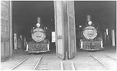 Head-on views of D&amp;RGW #268 and #278 reposing in the Gunnison roundhouse.<br /> D&amp;RGW  Gunnison, CO  Taken by Treptow, Russell F. - 6/3/1942