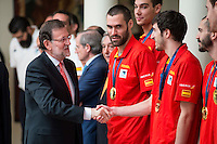 The reception of Prime Minister Mariano Rajoy to Spain national basketball team gold at EuroBasket 2015 at Moncloa Palace in Madrid, 21 September, 2015.<br /> Prime Minister Mariano Rajoy and Gillem Vives.<br /> (ALTERPHOTOS/BorjaB.Hojas) /NortePhoto.com