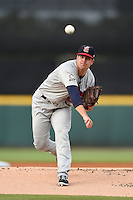Brevard County Manatees  pitcher Damien Magnifico (32) during a game against the Lakeland Flying Tigers on April 10, 2014 at Joker Marchant Stadium in Lakeland, Florida.  Lakeland defeated Brevard County 6-5.  (Mike Janes/Four Seam Images)