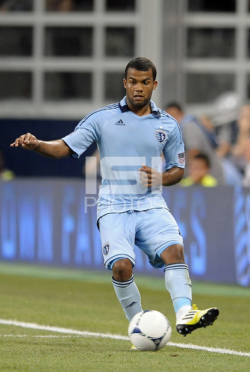 Dom Dwyer (14) forward Sporting KC in action..Sporting Kansas City were defeated 3-0 by Montpellier HSC in an international friendly at LIVESTRONG Sporting Park, Kansas City, KS..